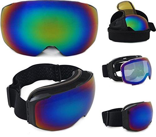 Skibrille verspiegelt Whistler 2017 unisex mit magnetischem Wechselglas für schlechte Sicht inkl. Brillenetui (Eva-Box) + Brillenputztuch | kratzfeste Schneebrille Snowboardbrille