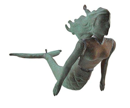 Kupfer Statuen Kleine Grünspan Finish Prägung Kupfer Meerjungfrau zum Aufhängen Skulptur 40,6x 25,4x 19,1cm grün Modell # wvh150 (Wetterfahne Nautische)