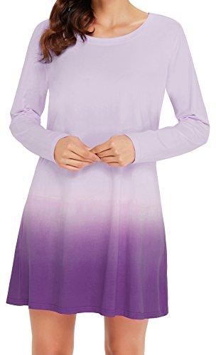 Angerella Damen Herbst Lange ?rmel Tunika Kleid Tie Dye Ombre T-Shirt (Dye Tie Anzüge)