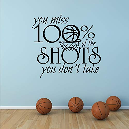 WWYJN Motivational Sports Quote Wall Decal Basketball Sport Sign Wall Sticker You Miss 100% Shots You Don't Take Vinyl Wall Art  52x48cm