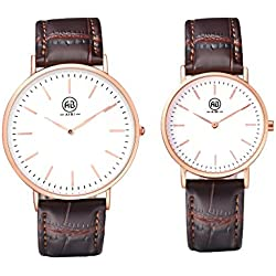 AIBI Waterproof Brown Leather Band Rose Gold Ultra-thin Case Watches Set for Couple Lovers