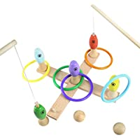 Akokie Quoits Game, Throwing Toys, Fishing Bowling Set, 3 in 1 Wooden Toy Outdoor Indoor Toys Ring Toss for Kids 3 4 5 6 Years Old