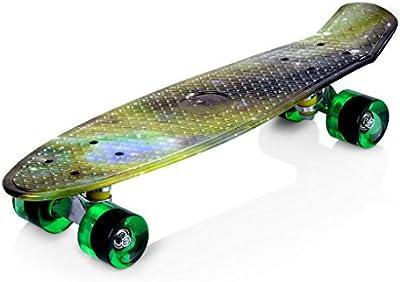Enkeeo - Monopatín Skateboards Retro Crucero (22 pulgadas, 4 PU ruedas traslúcidas, tabla de plástico reforzado, rodamiento ABEC-7)
