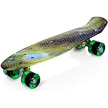 Enkeeo Planche à Roulettes Skateboard Cruiser en plastique avec plate-forme robuste 4 PU Casters pour les enfants, jeunes et adultes