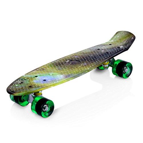 Enkeeo 57cm Mini Cruiser board Skateboard mit stabilen Deck 4 PU-Rollen für Kinder, Jugendliche und Erwachsene (Sky Pattern)