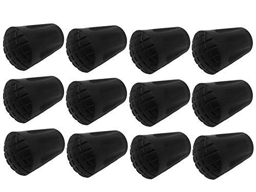 MIGHTY PEAKS 12 Stück / 6 Paar Nordic Walking Pads Asphalt Gummipuffer X-4BT für alle gängigen Nordic Walking Stöcke - Wanderstöcke - für den Nordic Walking Stock mit einen Durchmesser von 12mm