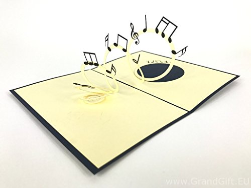 Music Notes 3D Pop up Grußkarte handgefertigt Happy Birthday Hochzeitstag Freundschaft Frohe Weihnachten Thanksgiving Thank You Best Wish Viel Glück Happy New Year Valentine 's Day rot