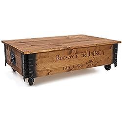 Mesa de centro auxiliar baúl madera Vintage shabby chic Landhaus madera maciza color nogal