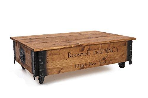 Table basse en bois Uncle Joey de 100 x 65 x 30 cm - Style vintage Shabby Chic - Rosevelt - Avec couvercle - Marron clair
