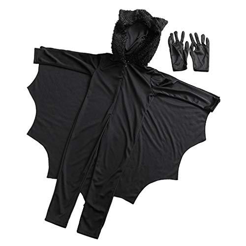 (F Fityle Jungen Mädchen Fledermaus Cosplay Kostüm Verkleidung Umhang Flügel Bat Kinderkostüme für Halloween Karneval Fasching - L)