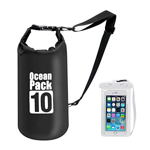 Bolsa impermeable prémium con correa para el hombro, paquete flotante de 10 L, bolsa ligera con funda para teléfono móvil y otros dispositivos para viajes, kayak, senderismo, acampada, rafting y más, negro