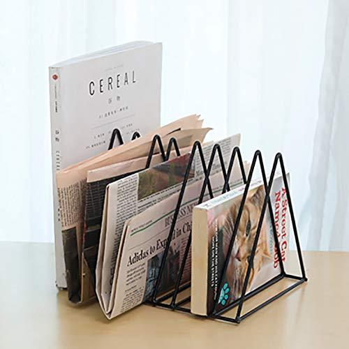 Saiko Dreieck Aktenhalter Bücheraufbewahrung Organizer Metall Zeitschriften- und Zeitungsregal Bücherregal Ständer für Home Office (Schwarz, 26 * 17.8 * 18.5 cm) -