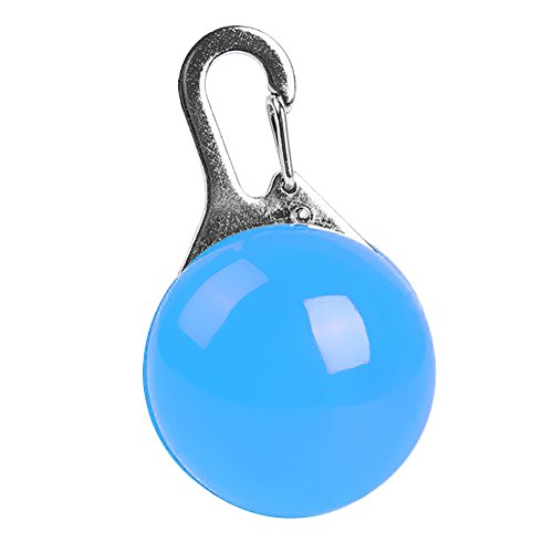 Kingnew Runder Anhänger Kragen, Puppy Blinklicht Sicherheit Nachtlicht Hundehalsband Anti-verlorene blinkende LED-Leuchten (blau) -