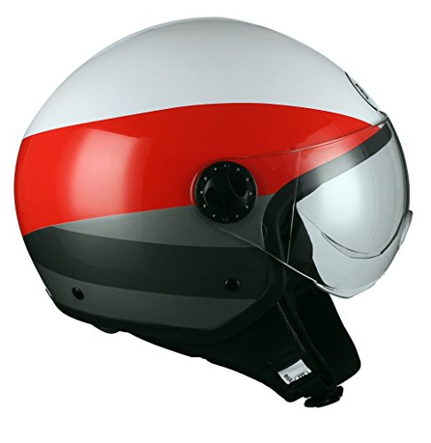 BHR Casco Moto Demi-Jet Linea One 801, irregular Red, M (57/58 cm)