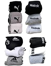 Ramptel branded Combo Offer Of 12 Pairs puma, adidas, reebok nike Logo Sports Ankle Length Socks