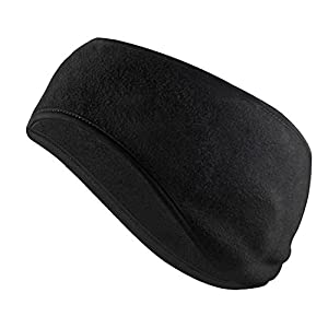 Tagvo Winter Headband Ear Warmer Lightweight, Made of Warm Cozy Fleece Material with Full Cover Ear Muffs, Stretch to Size Non-Bulky Snug Fit for Adults Men Women for Sport & Casual Wear ( Black )