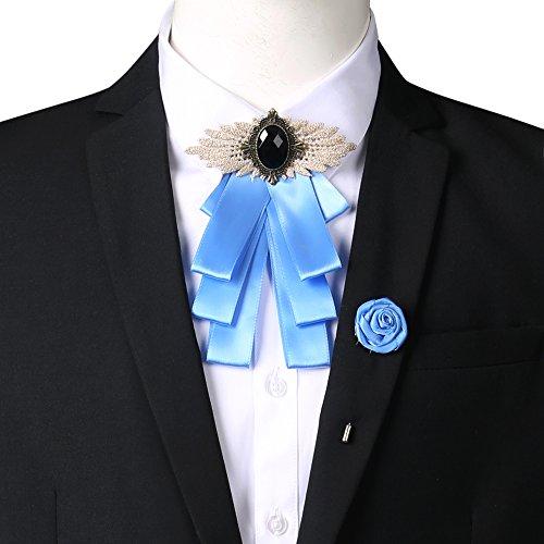 L & L UNISEX Krawatte Hochzeit Tuxedo Fliege anschnallen Brosche REVERSNADEL Korsage set UK - Himmelblau, One size