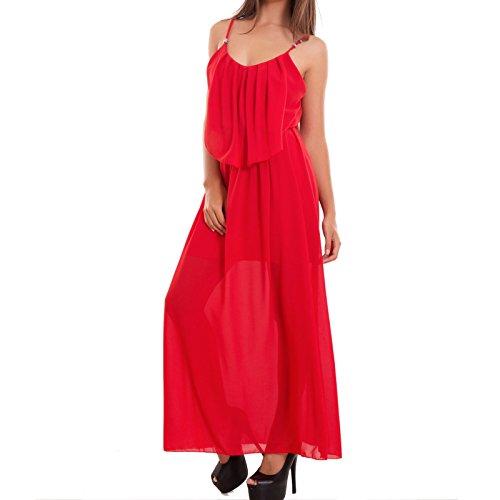 Toocool - Vestito donna abito lungo velato ruches elastico sexy arricciatura nuovo AS-2265 Rosso