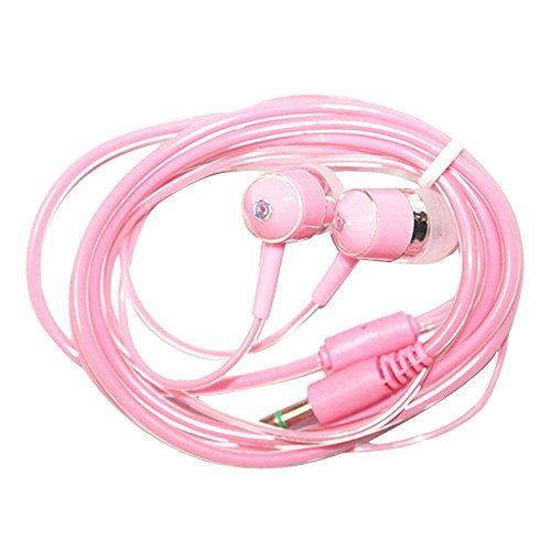 Cuitan New Crystal Cable Universal 3.5mm Plug In Ear Headphone Cellphone Music Movie Earphone Headset Wired Earphone with Microphone for iPhone, Xiao Mi, Moto, Meizu, Samsung - Pink