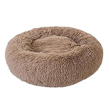 ABenxxou Coussin pour Chien Chat, Panier Rond de Chat Chien Donut Deluxe pour Chiot Corbeilles Chaud lit for Animal (L (diamètre de 50cm, Hauteur de 20cm), Kaki)
