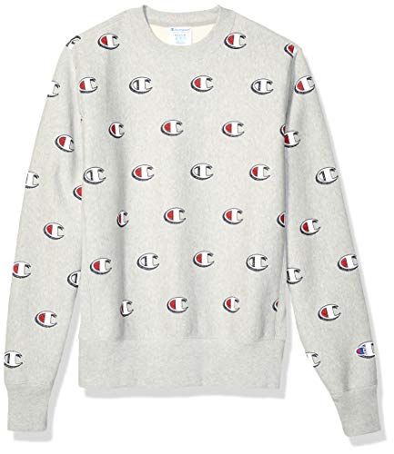 Champion Life Herren Reverse Weave Crew-Print Sweatshirt, Scribble Logo Oxford Grey, X-Klein - Crew Sweatshirt Oxford