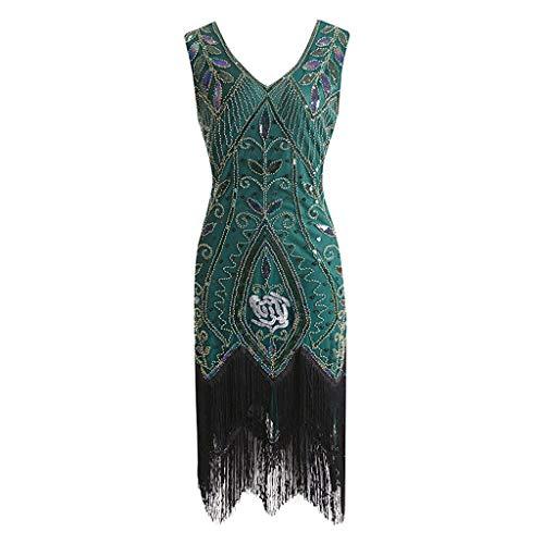 KUDICO Kleid Retro Damen Stil Flapper Kleider Voller Pailletten V-Ausschnitt Great Gatsby Motto Party Dress Kostüm Kleid Abendkleider(Grün, S)