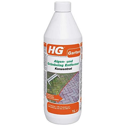 HG Algen- und Grünbelag Entferner Konzentrat 1L - ist ein konzentrierter Algen- und Grünbelagentferner für Terrassen, Pflasterungen und Wände