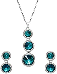 Oviya Valentine Collection Rhodium Plated Mesmerising Sea Green Crystal Pendant Set For Girls And Women NL2103700RGre