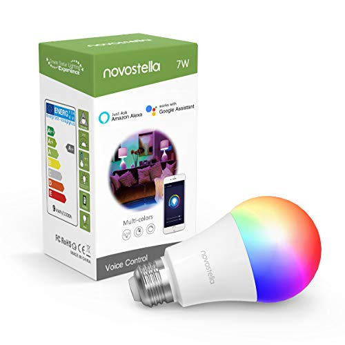 Novostella Wlan Lampe E27 Alexa RGB, 7W LED Wifi Smart Bulb Google Home, Dimmbare Timing RGBCW (kaltweiß, warmweiß, mehrfarbige LED) 600lm, Fernbedienung durch Smartphone 1 Pack[Energieklasse A+]