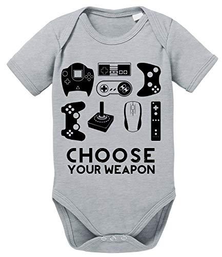 Choose Play Baby PS Strampler Bio Baumwolle Station Body Jungen & Mädchen 0-12 Monate, Größe:74/7-9 Monate, Farbe:Grau Meliert