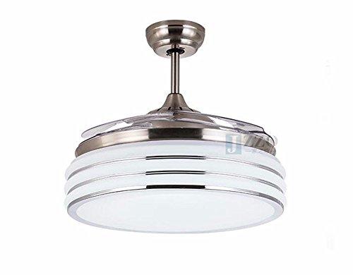 CTREKE Deckenventilator Licht LED Schlafzimmer Wohnzimmer Kind Deckenventilator Wohnkultur unsichtbar einfacher Stil B 36 Zoll 24W weißes Licht Wandsteuerung Durchmesser 90cm -