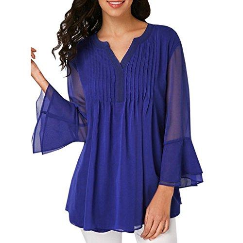ESAILQ Damen Chiffon Bluse V-Ausschnitt Henley Shirt Casual -