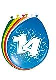Folat 8Stk. Luftballons 30cm Zahlenballons 14 Jahre