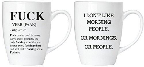 BRUBAKER Set von 2Keramik Tassen,-F Wort (Definition von 'Fuck') & I Don 't Like Morgen-Gruß Karte im lieferumfang enthalten (Store-gruß-karten)