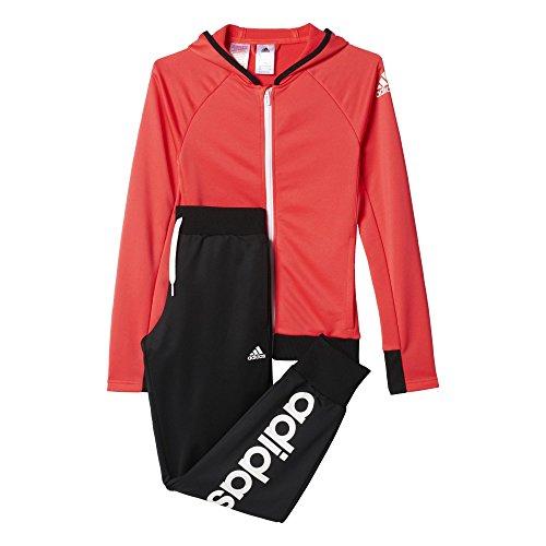 adidas Mädchen Trainingsanzug YG S HD PES TS, Rot/Schwarz, 104, 4055344089101