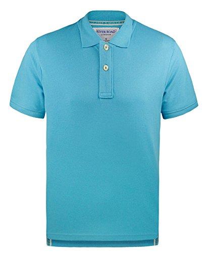 Mens 100% Baumwolle Einfarbig Pique Polohemd Kurzärmeliges T-Shirt Sommer Top Türkis