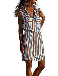 f599d05be77d4f URIBAKY Shirt Kleider Frauen Ärmelloses Midi-Kleid V-Ausschnitt Mit Button  Down