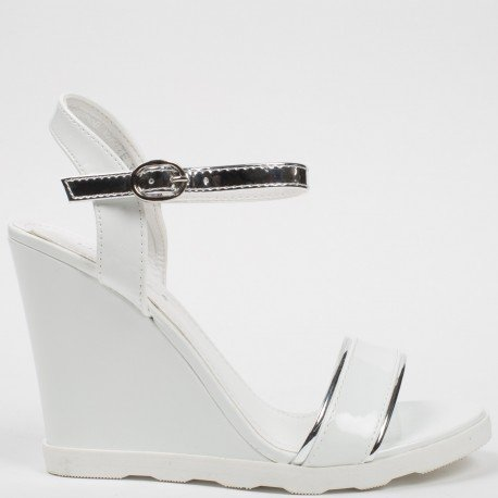 Ideal Shoes - Sandales compensées et vernies avec bride argentée Lalitha Blanc