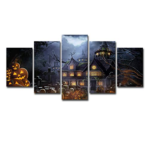 Sgkhz Haus Parade Halloween Kürbis Malerei Leinwand Wandkunst 5 Panel Wandkunst Wandpaneele Leinwand Große Abstrakte Dekoration,Withinnerframe,L