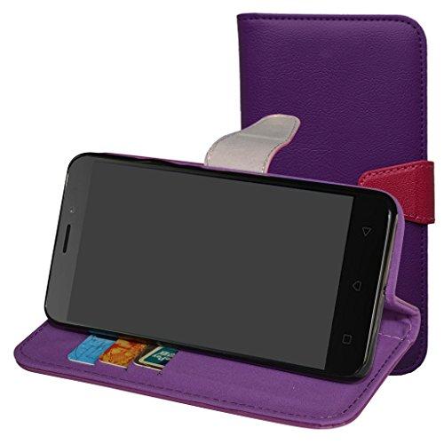 Lenovo K6 Custodia,Mama Mouth Portafoglio custodia in PU di cuoio pelle con supporto carte di credito in Piedi caso Case per Lenovo K6 Smartphone,Viola