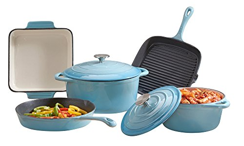 cooks-professional-deluxe-cast-iron-cookware-complete-5-piece-cooking-set-blue