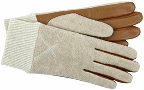 UGG Women's Fabric Smart Gloves with Knit Trim Natural Heather LG/XL (Uggs Womens Knit)