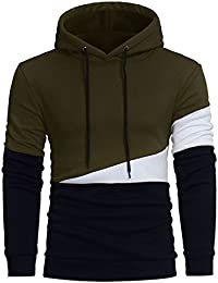 BUSIM Men's Long Sleeve Sweater Hoodie Stitching Color Jacket Pullover Slim Fit Sweatshirt Jacket Shirt Trendy...