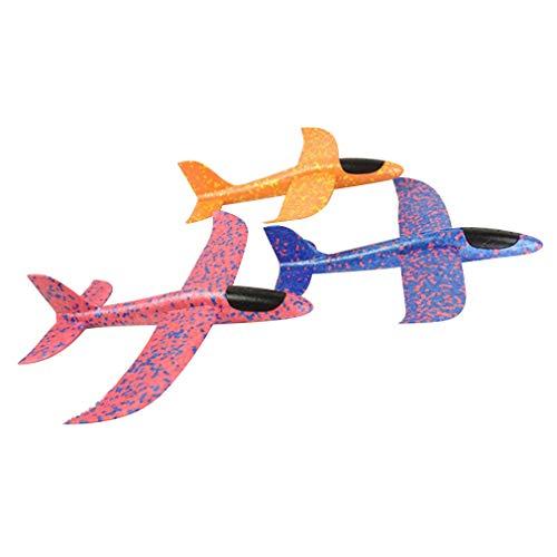 3 Stück Schaumstoff-Flugzeuge, Hand werfen Hand starten Flugzeug Modell Doppel-Flügel-Schaum-Segelflugzeug Flugzeug Trägheit Flugzeug Spielzeug