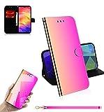 Jorisa Spiegel Hülle Kompatibel mit Xiaomi Redmi Note 7,Leder Brieftasche Flip Stand Handyhülle mit Kartenfächer Handschlaufe,Slim Magnetisch Klar Make Up Spiegel Schutzhülle,Farbverlauf -