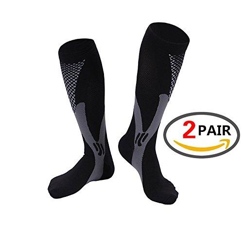 Kompressions-Wadenbandage (2Paar) Sleeve für Männer & Frauen, Best Footless Socken für Läufer Waden &, tibiakantensyndrom Durchblutung Remedy, Unterstützung, Laufen Gear Basketball Lycra Strumpfhosen, Black,XXL (Argyle Hoch Knie)