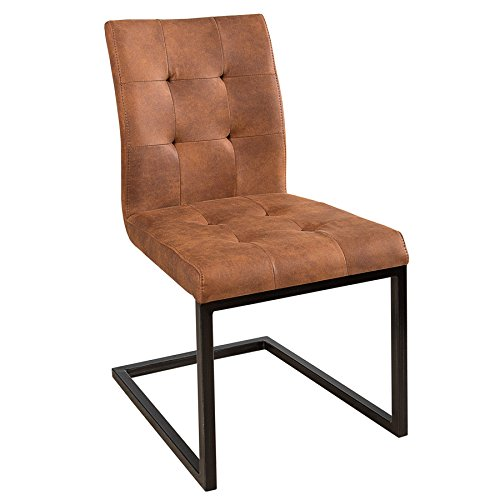 Invicta Interior Design Freischwinger Stuhl Oxford Cognac Vintage braun Gestell Eisen Schwarz Schwingerstuhl Esszimmerstuhl Freischwingerstuhl Konferenzstuhl (Braun Hohe Rückenlehne Esszimmer Stuhl)