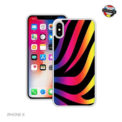 bogen-Zebra-Druck | Handgefertigt | iPhone X, XS | Weiß Hülle | Extra Grip + Stoßfest ()