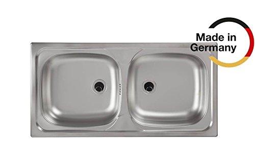 Rieber Einbauspüle E 86/2 Edelstahl Küchenspüle Made in Germany 860x500 mm 2 Becken ohne Abtropffläche langlebig & rostfrei