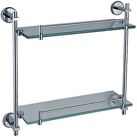 YUPD@Kaiping rame bagno accessori in acciaio inox con doppio vetro appeso rack bagno Mensola vetro angolo stanno 415 lungo , 415*130*370mm